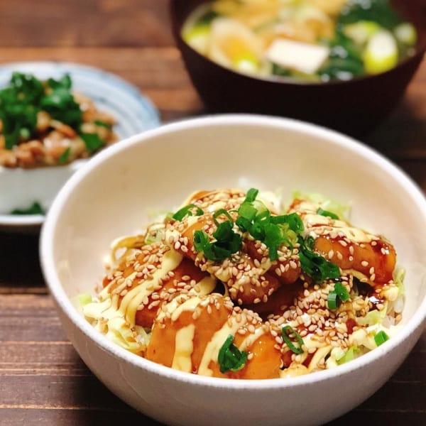 一人暮らし レシピ テリマヨチキン丼
