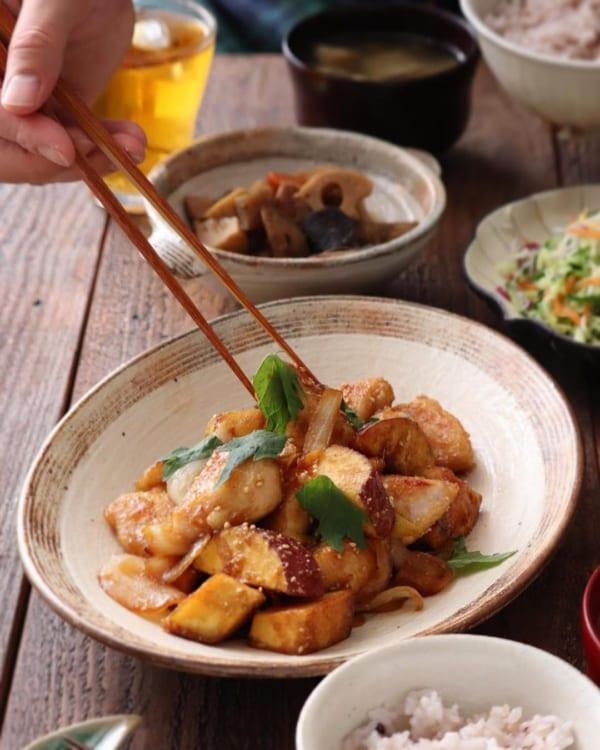 鶏肉とサツマイモの甘辛炒め
