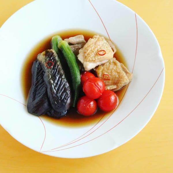 一人暮らし レシピ 夏野菜と鶏肉のだし浸し