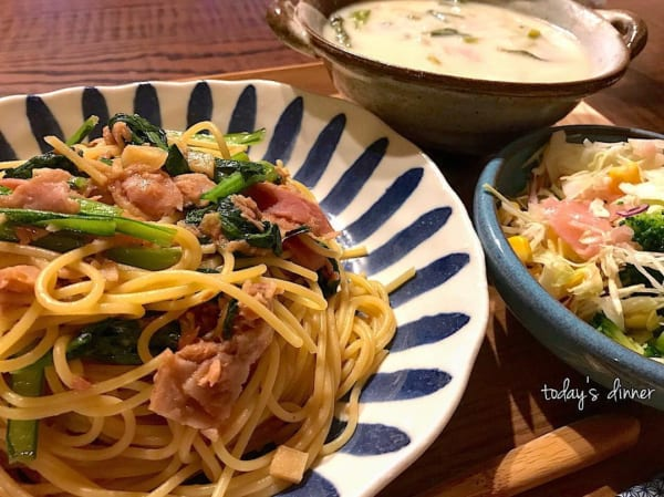 一人暮らし レシピ 小松菜とツナとベーコンの和風パスタ