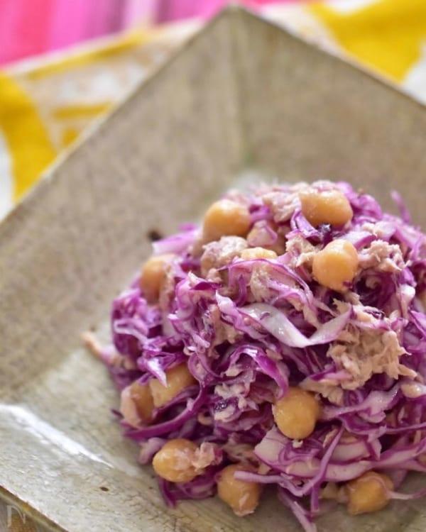 紫キャベツとひよこ豆のツナサラダ