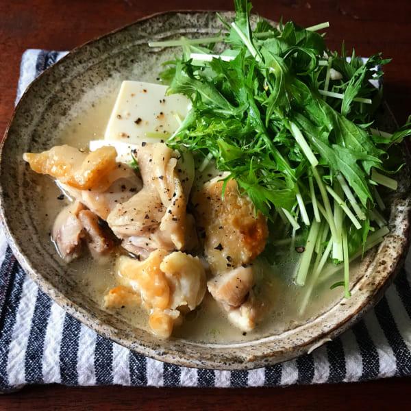 鶏と豆腐の塩だれ煮