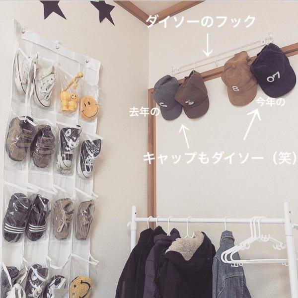 帽子の収納アイデア ダイソー フック