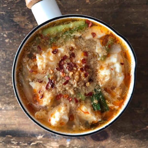 ゴマの風味が香る!ゴマキムチスープ