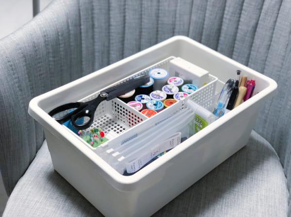 裁縫道具収納 IKEAのフタつきボックス