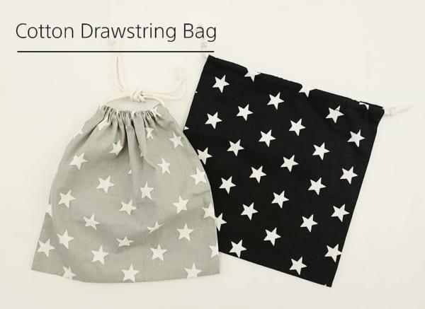 星柄コットン巾着袋(キャンドゥ)