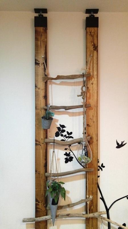 壁にはしご型に棚をDIYしてみる