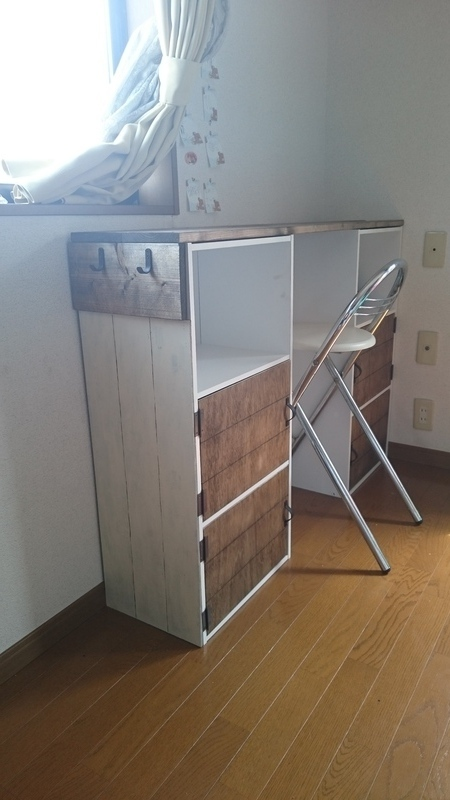 カラーボックス 子供 机 DIY5