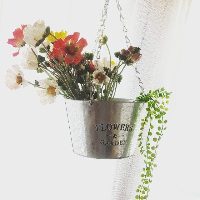 造花インテリア ブリキ缶 ハンギング