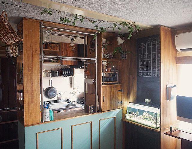 キッチン フェイクグリーン 蔦