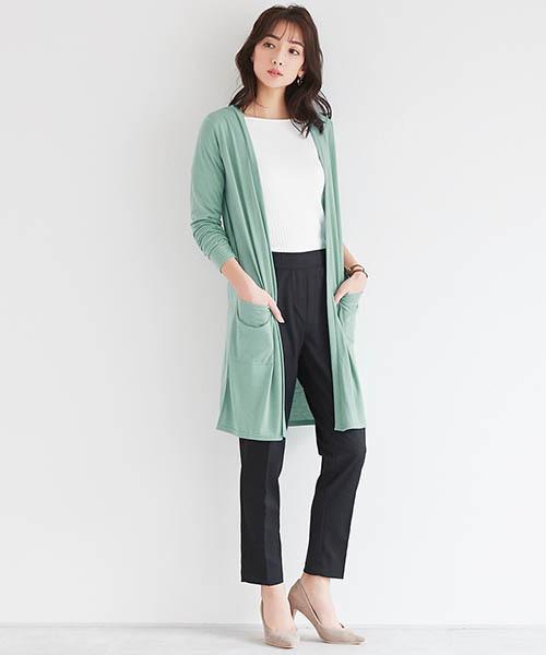 [Pierrot] UVカット&吸汗速乾ロング裾スリットカーディガン