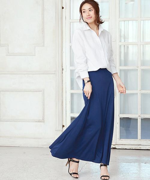 [Pierrot] たっぷりフレア美シルエット マキシスカート/エアリースカート