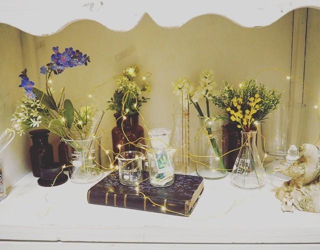 ディスプレイ棚 造花 フェアリーライト