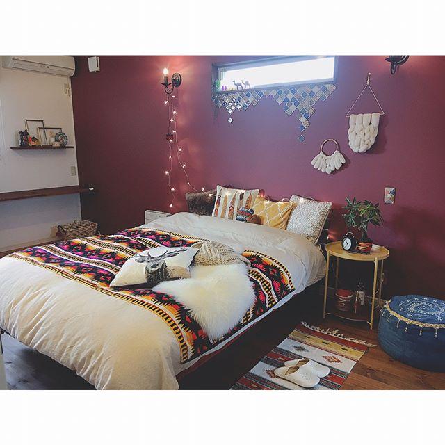 寝室実例 ラズベリーカラー