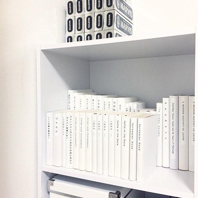 本棚もモノトーンに