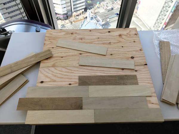 フェリシモ女子DIY部 へリンボーン柄天板キットをヘリンボーンじゃない天板にしてみた2