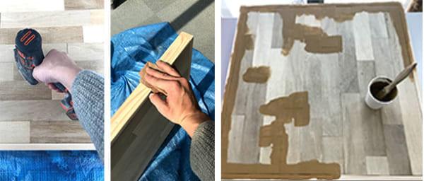 フェリシモ女子DIY部 へリンボーン柄天板キットをヘリンボーンじゃない天板にしてみた15