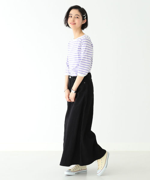 [BEAMS WOMEN] BEAMS BOY / 1cmボーダー ボートネック7分袖②