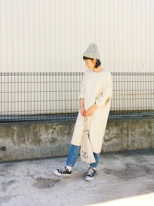 【グレーニット帽】×ニットワンピース