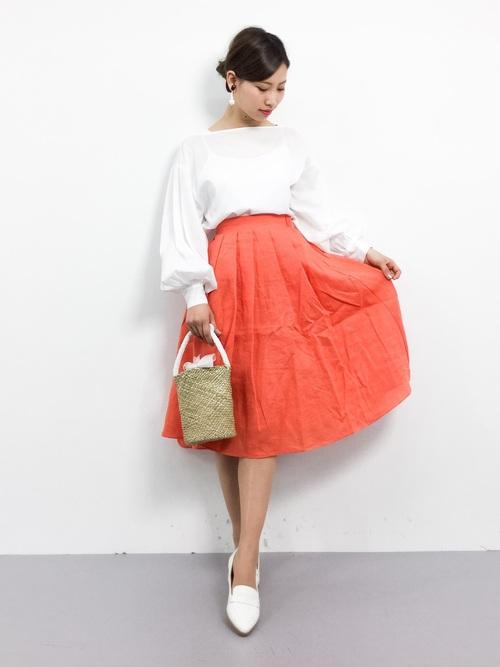[MODE ROBE] 【STORY(ストーリィ)掲載】 【CanCam 4月号掲載】 リネン フレアカラースカート フレアスカート ロング丈 ロングスカート
