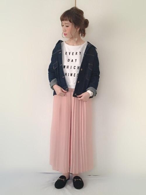 ネイビー アウター ピンク スカート