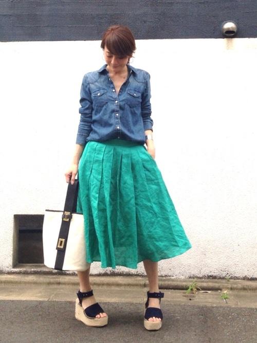 [MODE ROBE] 【STORY(ストーリィ)掲載】 【CanCam 4月号掲載】 リネン フレアカラースカート フレアスカート ロング丈 ロングスカート2