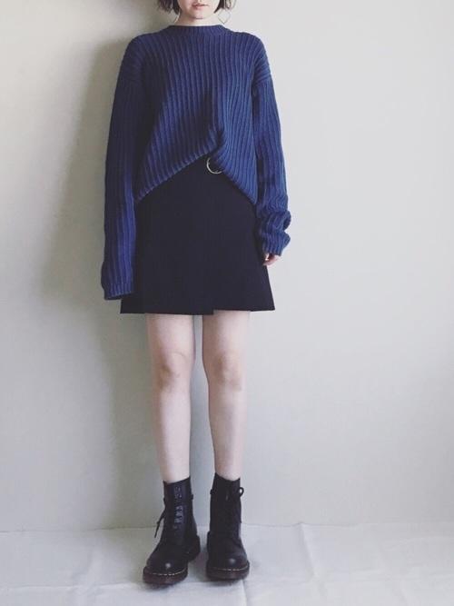 30代におすすめ【ニット×ミニスカート】