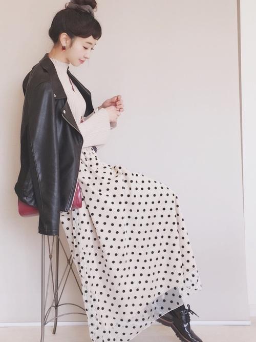 [CAROLINA GLASER] CAROLINA GLASER / ドットチュール ロングスカート