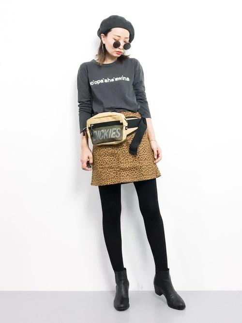 [SpRay] ヒョウ柄ZIP台形ミニスカート