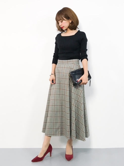 [IENA] チェックフレアースカート◆