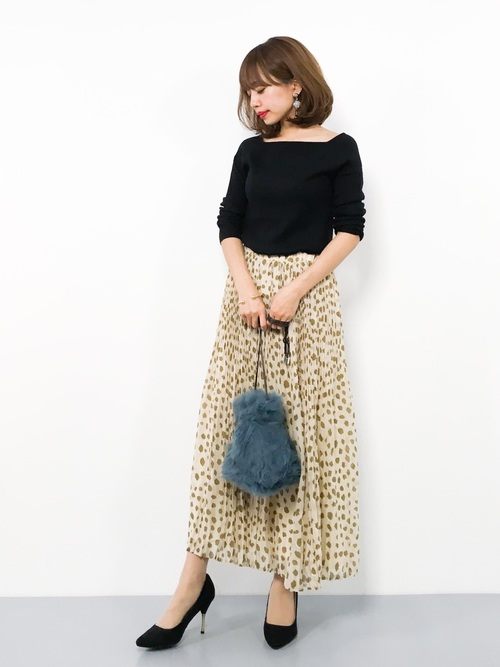 [Ranan] レオパードプリーツロングスカート
