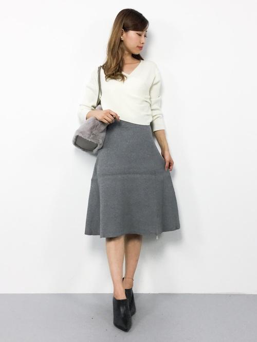 [SAISON DE PAPILLON] リブニットスカート【ミディ丈TYPE】