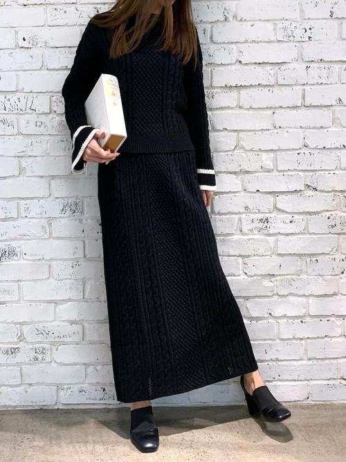 [Delyle NOIR] ケーブル編み袖ラインニットプルオーバー