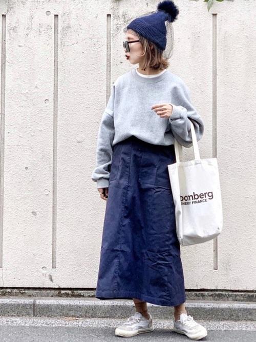 【青ニット帽】のカジュアルコーデ2