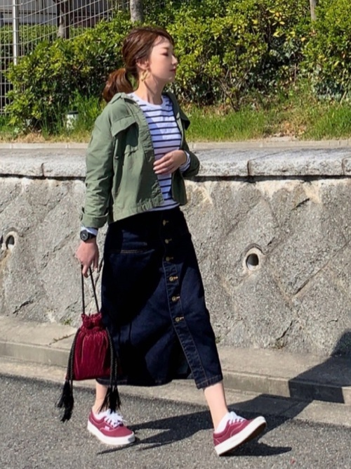 [MOUSSY] BUTTON UP LONG SKIRT
