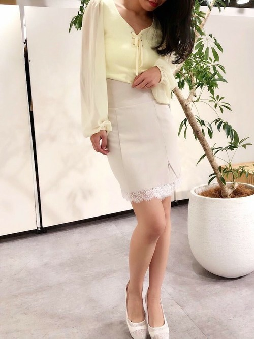 [Delyle NOIR] ラップレイヤードリボンスカート