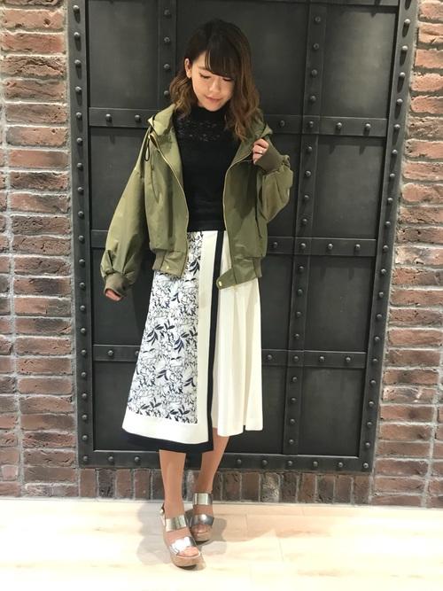 [GUILD PRIME] 【LOVELESS】WOMEN エンブロイダリーレースコンビスカート
