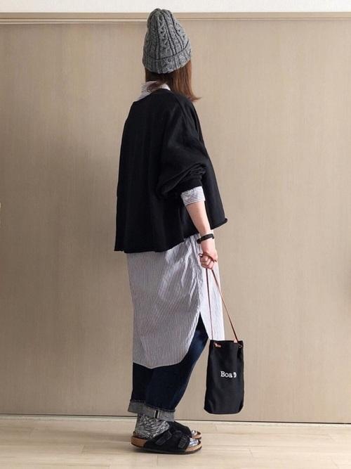 【グレーニット帽】×シャツワンピース2