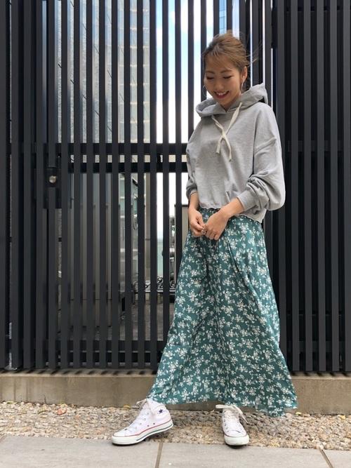 [FREE'S MART] レトロフラワーハイウエストマキシスカート