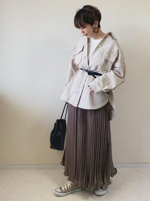 [RETROGIRL] サテンプリーツスカート