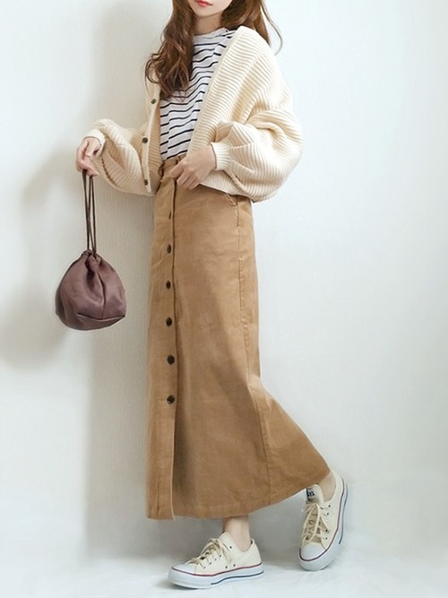 [merlot] フロントボタンペンシルスカート079-5008