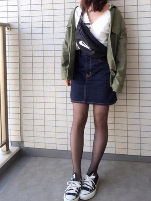 30代40代におすすめ【アウター×ミニスカート】デニム2