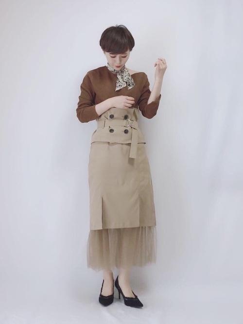 [LADYMADE] トレンチベルトスリットチュールタイトスカート