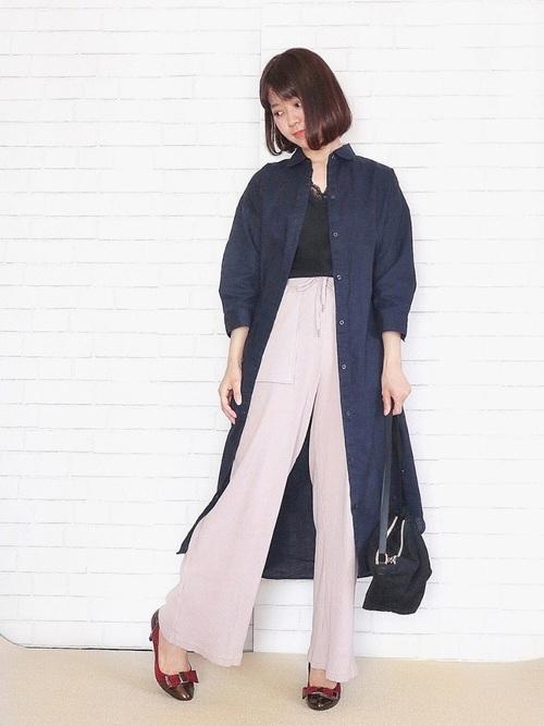 【プチプラ】GUパンツ×シャツワンピースコーデ