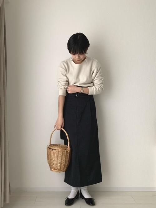 【ユニクロ】のワッフルクルーネックT2