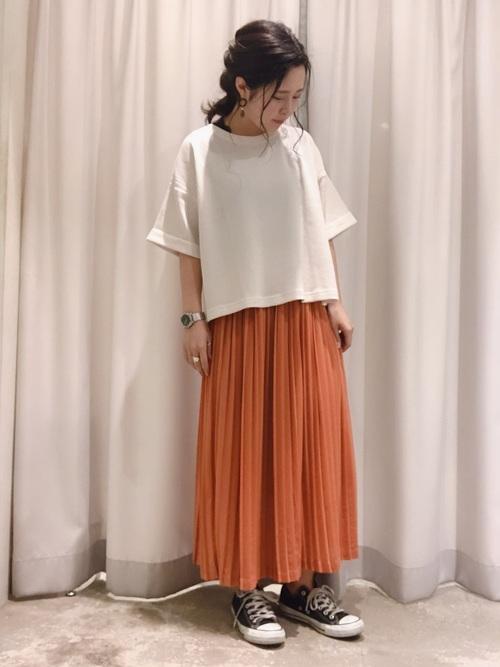 カラーロングプリーツスカート