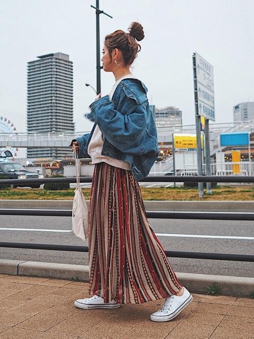 デニムジャケット×スカート