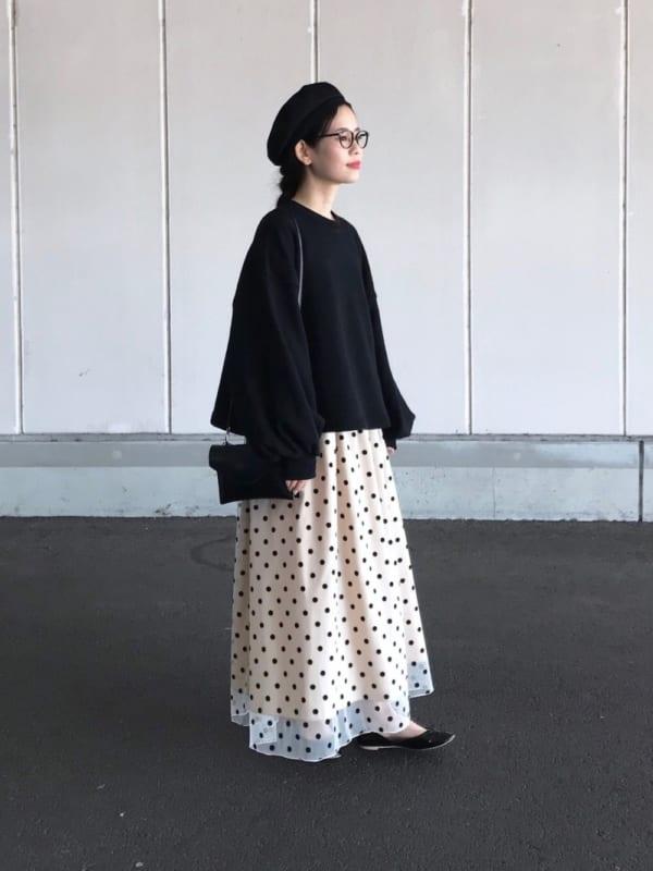 黒 バレエシューズ ドット柄スカート