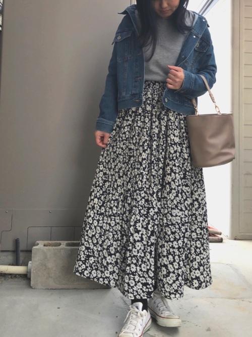 [しまむら] 花柄 プリーツスカート4