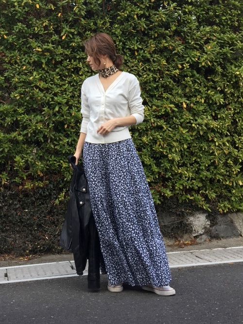 小花柄スカート8